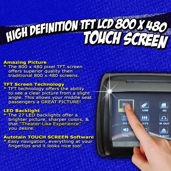 autotain dream 9 inch touch screen headrest dvd monitor