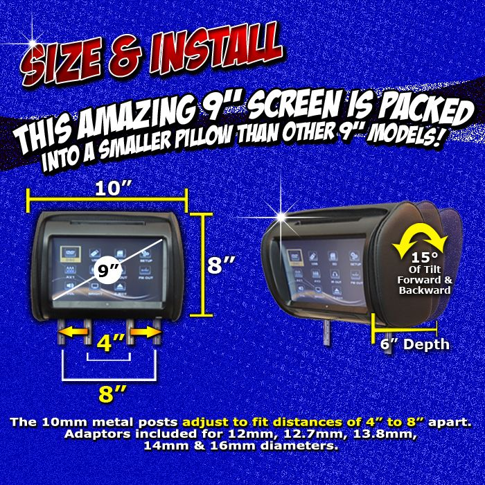 autotain dream headrest dvd player size install