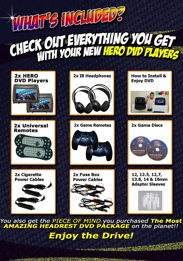 hero headrest dvd player included